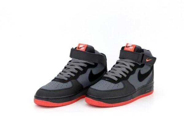 Nike Air Force 1 Mid 07 серые с черным (40-44)