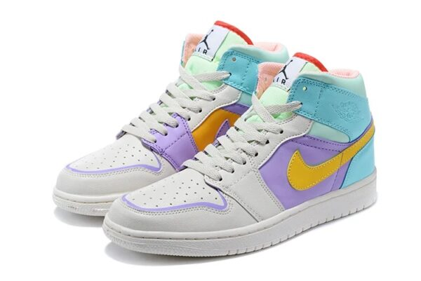 Nike Air Jordan 1 GS серо-фиолетово-бирюзовые (35-39)