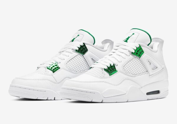 Nike Air Jordan 4 Green Metallic белые (35-39)