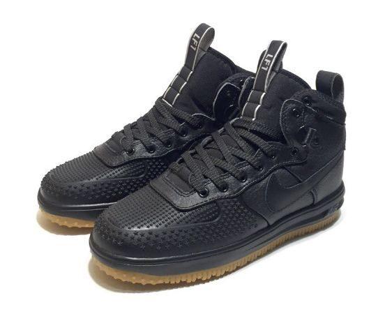 Зимние Nike Air Force 1 Lunar Duckboot с мехом черные (40-44)