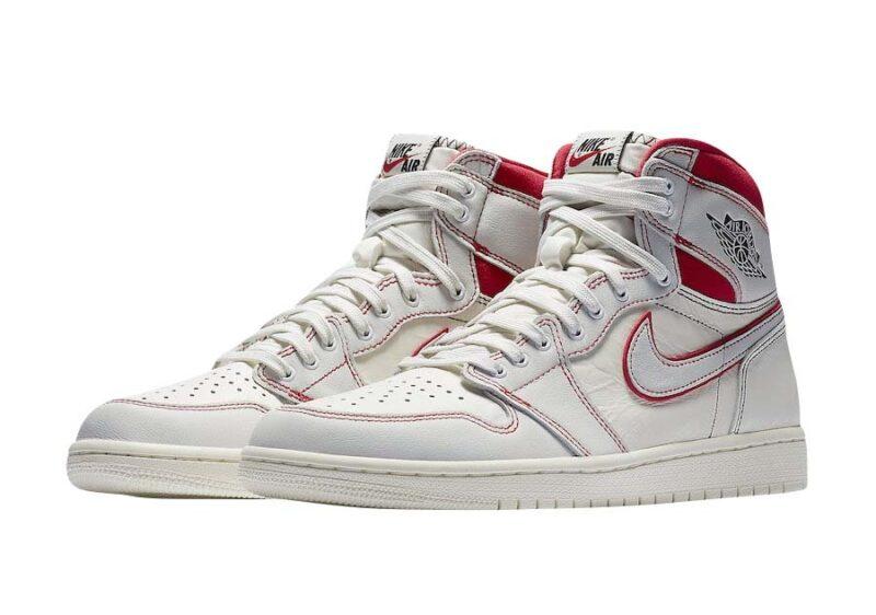 Nike Air Jordan 1 Retro High og Phantom белые с красным (35-39)