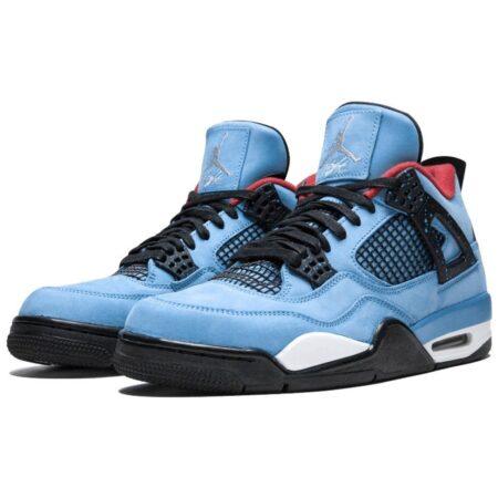 Nike Air Jordan 4 Retro 'Cactus Jack' светло-синие нубук мужские (40-44)
