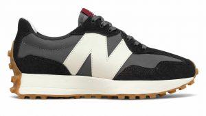 New Balance 327 черные с белым замшевые мужские-женские (35-44)