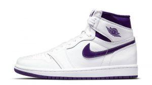 Nike Air Jordan 1 High White Court Purple белые с фиолетовым кожаные мужские-женские (36-40)