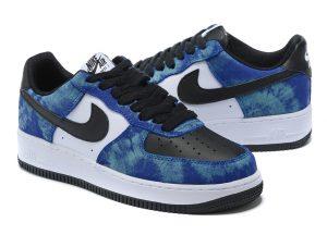 Nike Air Force 1 Low синие с черно-белым кожаные мусжкие (40-44)